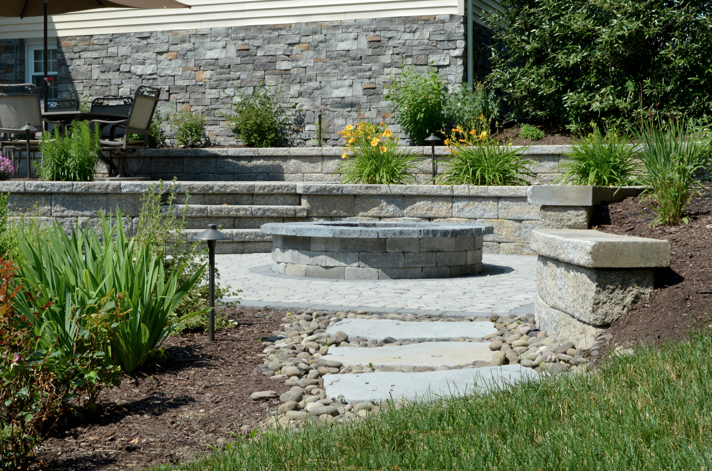 Fire pit and a paver patio for an above ground swimming pool Florida, NY