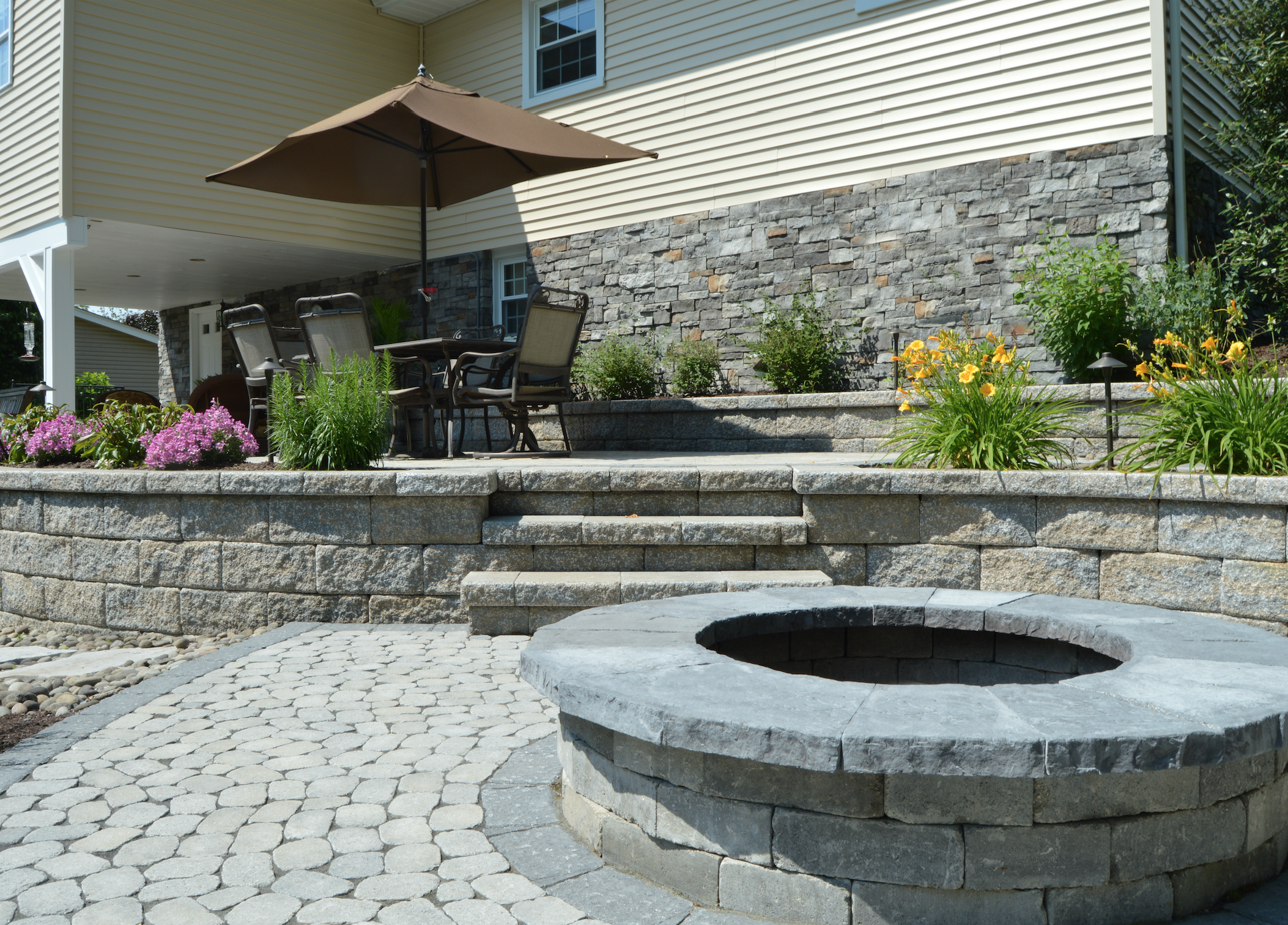 Fire pit and paver patio in Florida, NY