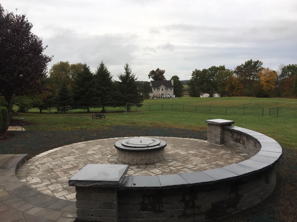 Retaining wall and fire pit in Bethel, New York