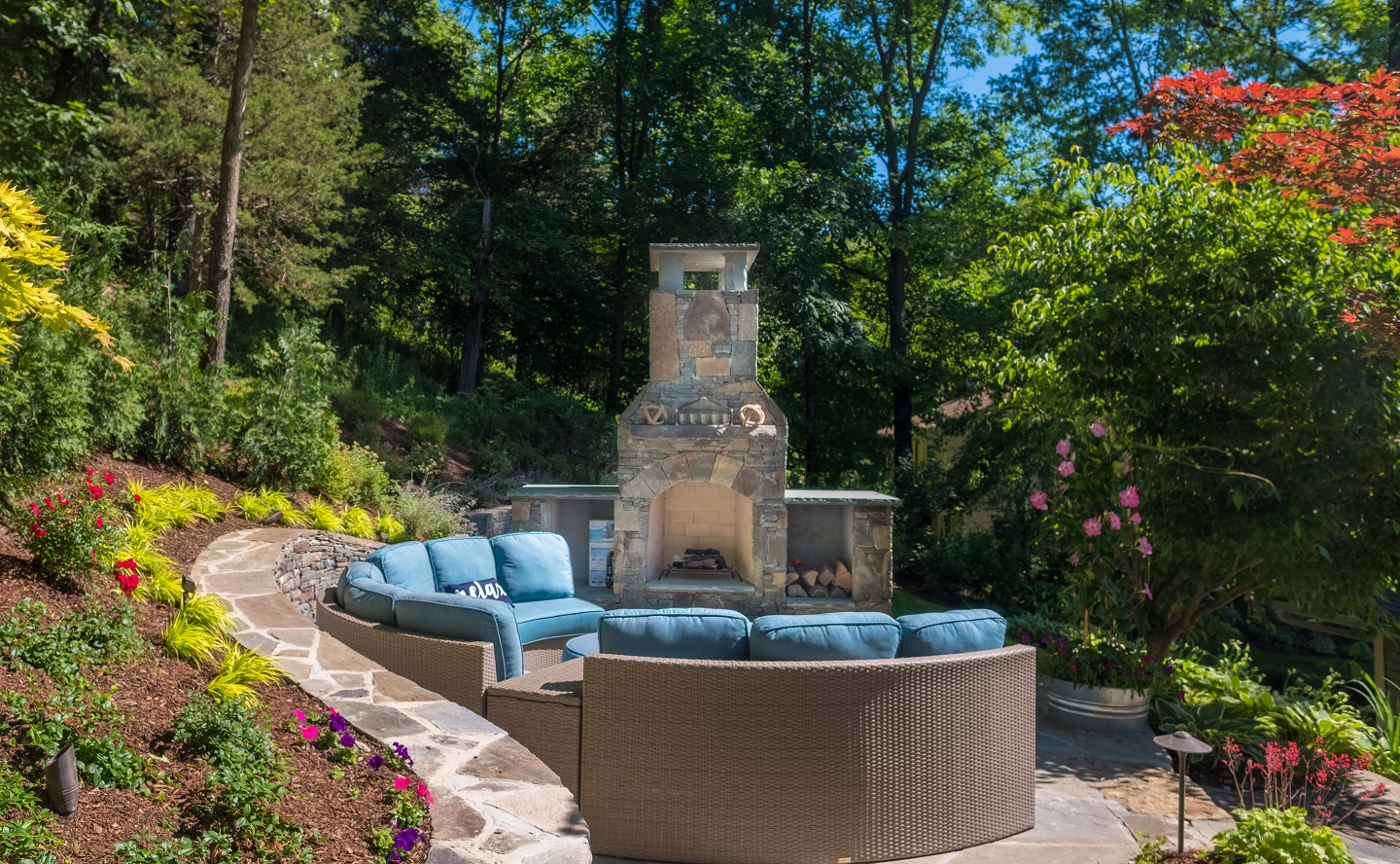 Patio in Florida, NY with outdoor fireplace