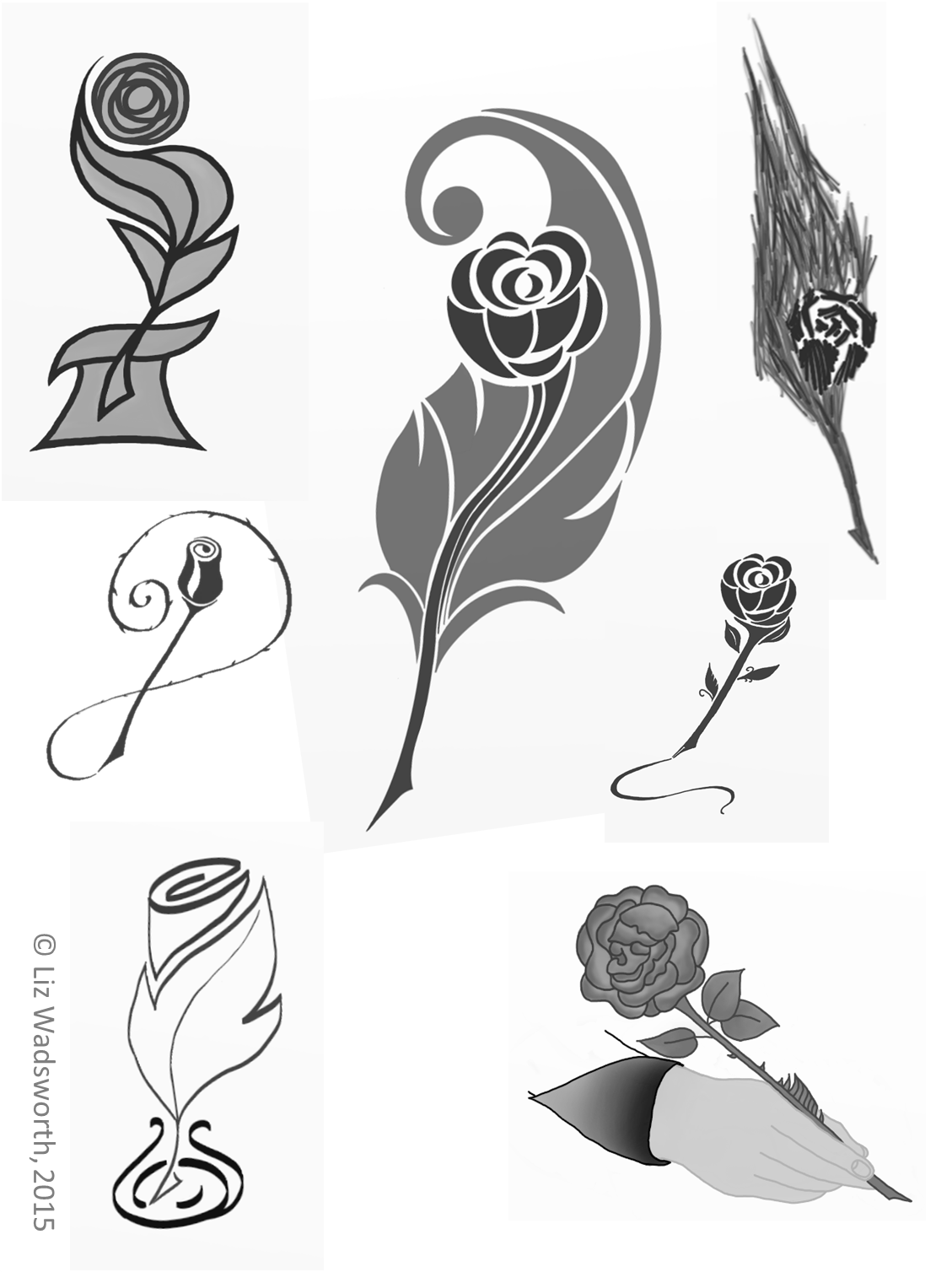 Rose Quills - Greyscale