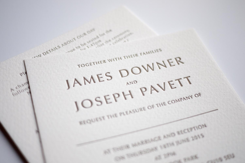 tres chic square letterpress wedding invitations