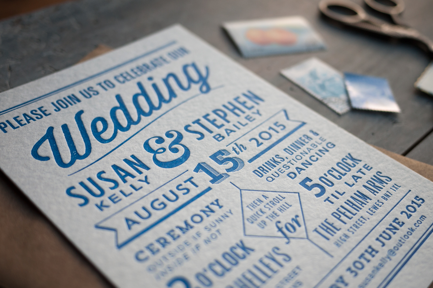 modern playbill wedding invite