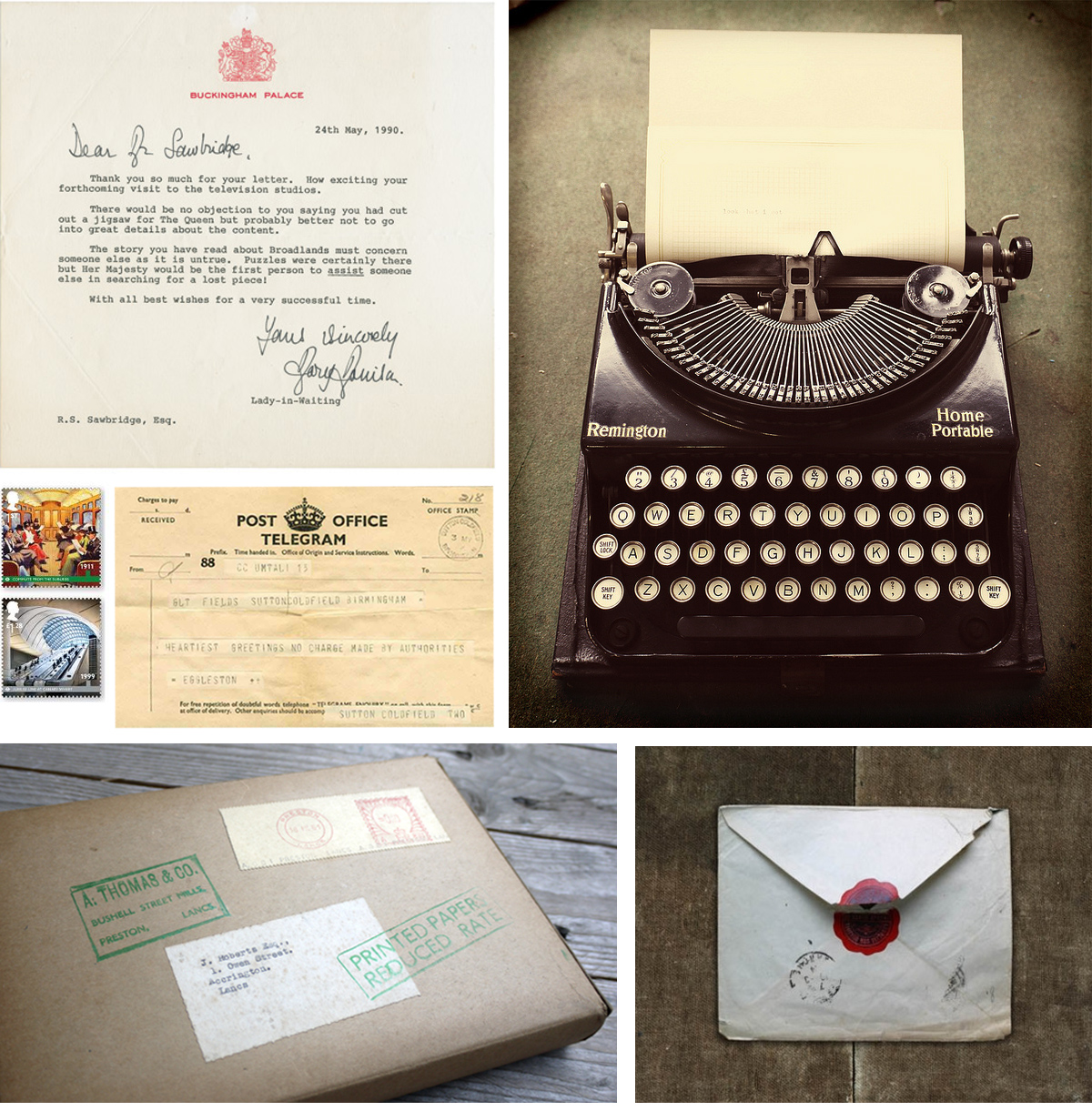typewriter   my new toy, a fabulous gift from a family friend /   typed letter   /   London Underground stamps   /   telegram   /   wax seal envelope   / found vintage postal box from my vintage ephemera collection