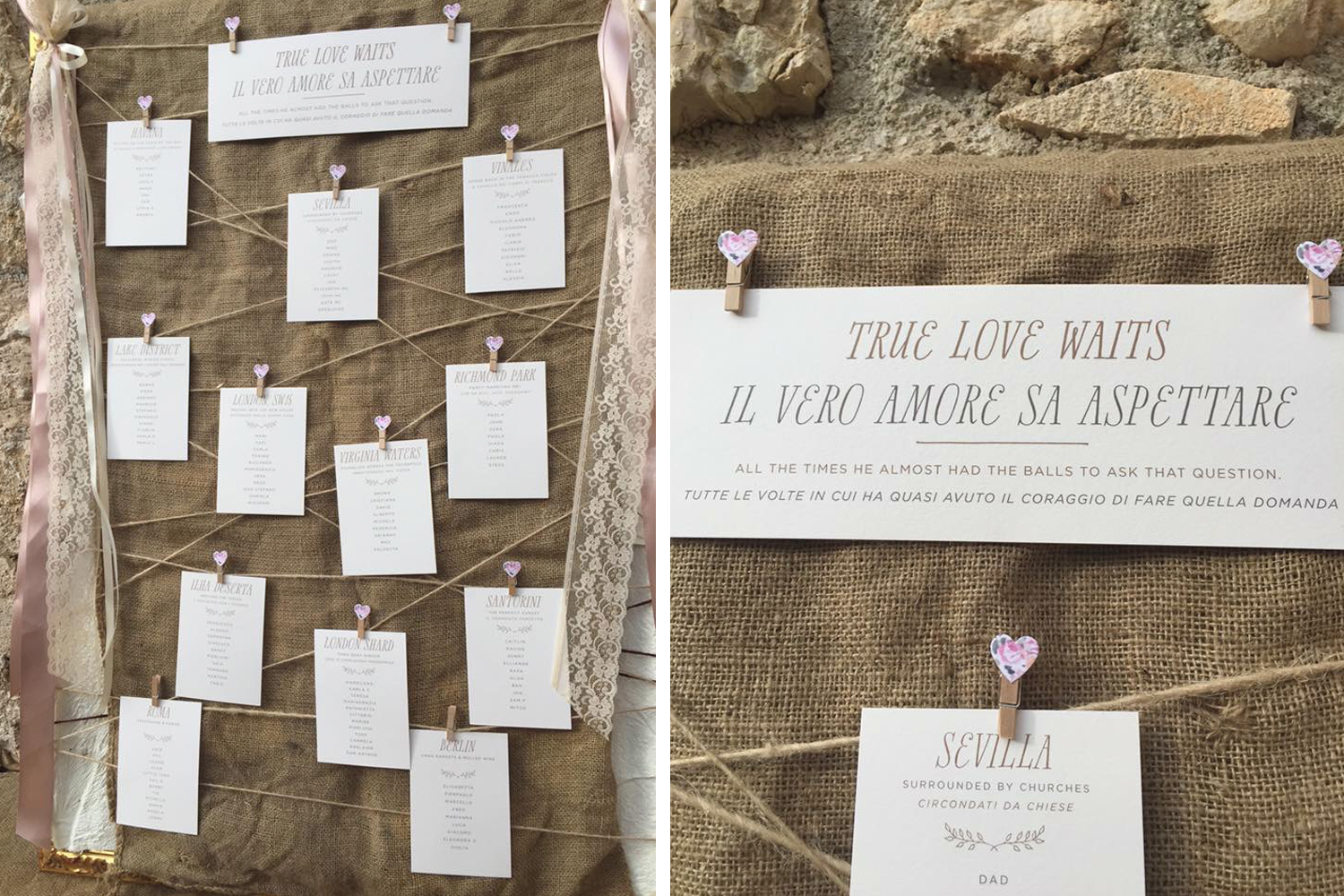 rustic tableplan cards - digitally printed
