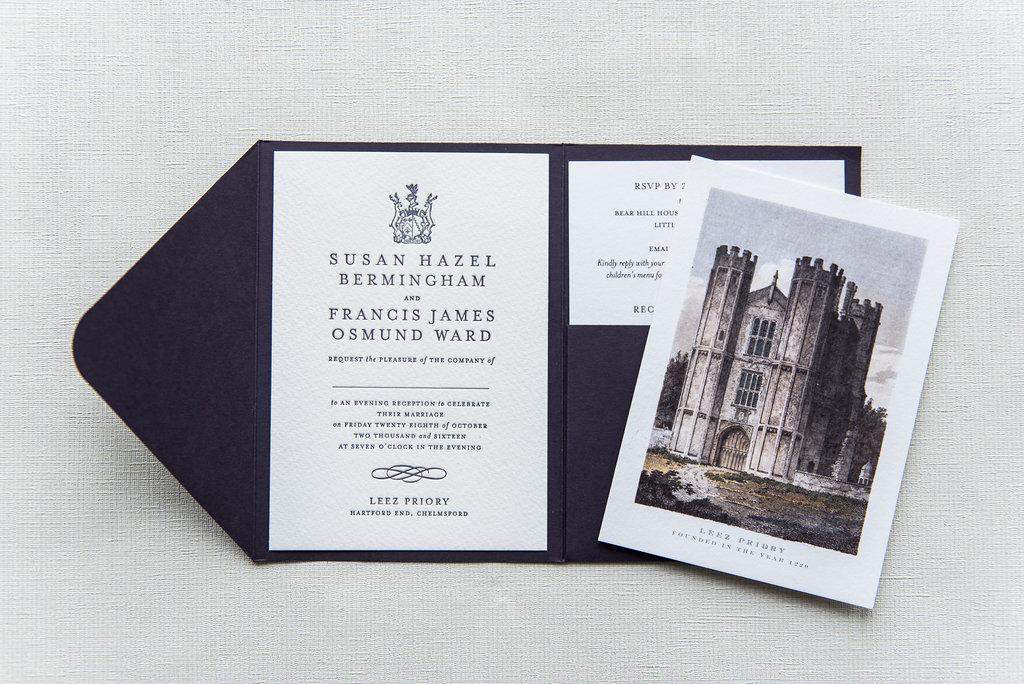leez priory wedding invitation