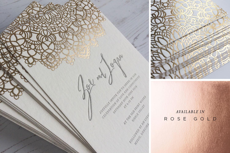 Mandala rose gold foil