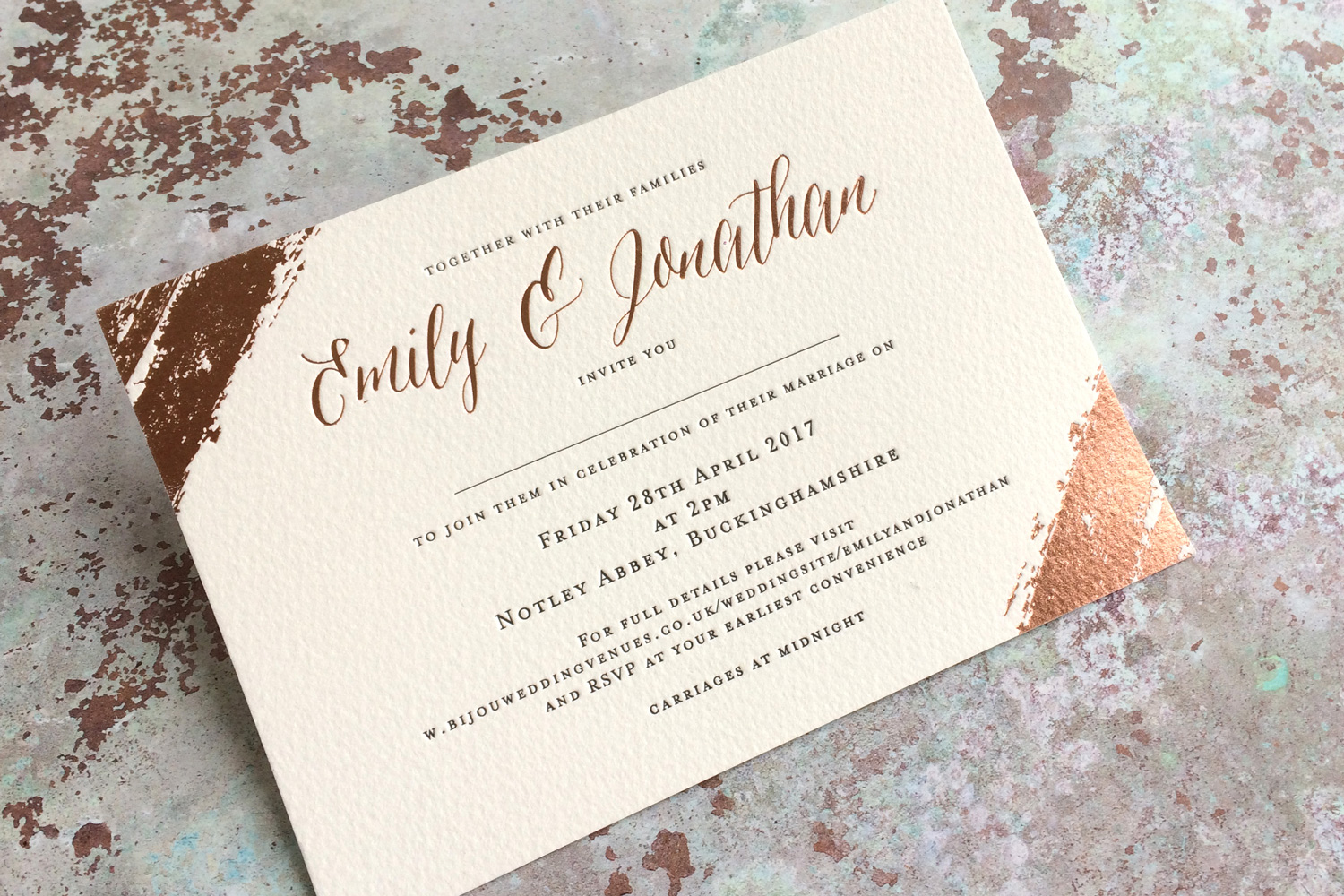 Foil and letterpress wedding invitations