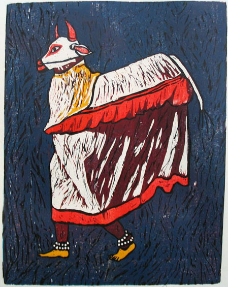 Color Reduction Woodcut by Vijay Pichumani -  Cow Dance  - 2009 - Chennai, India