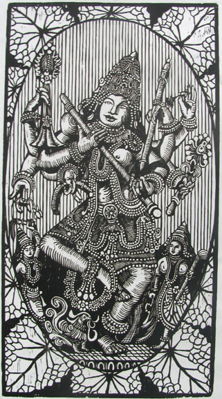 Woodcut by Vijay Pichumani -  Goddess Saraswathi  - 2007 - Chennai, India