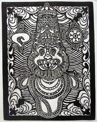 Woodcut by Yuvarajan Shanmugan - Narashiman - 2007 - Chennai, India