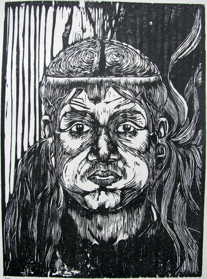 Woodcut by Prabu Sivalingam -  In Goes the Good and Out Comes the Bad  - 2009 - Chennai, India