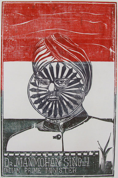 Color Woodcut by Ambeth Periasamy -  Dr. Manmohan Singh, Indian Prime Minister  - 2008 - Chennai, India
