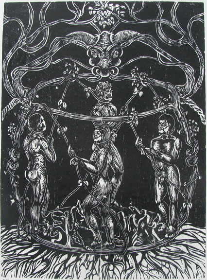 Woodcut by Prabu Sivalingam -  Judgement Day  - 2009 - Chennai, India