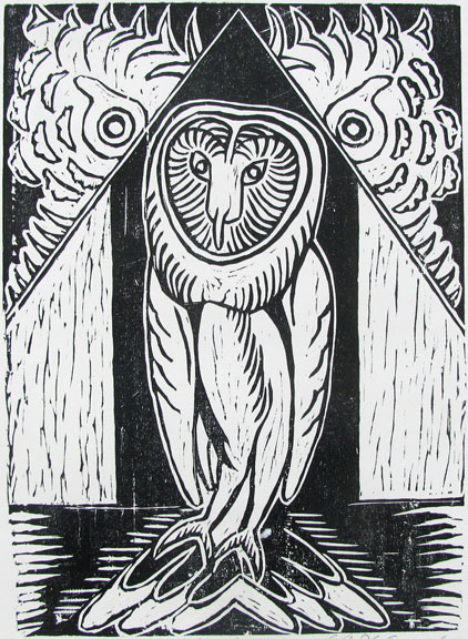 Woodcut by Radhakrishnan Natesapillai (Professor of Printmaking) -  Owl  - 2007 - Chennai, India