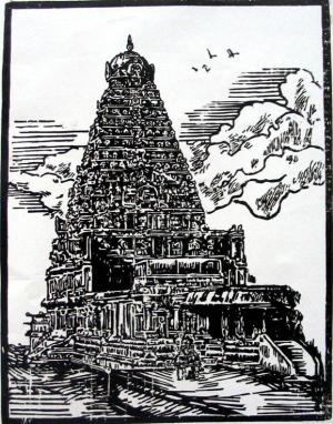 Woodcut by Elaya Selvan - 2007 -   Kathirvel Temple  - Chennai, India