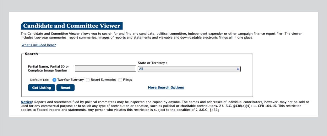 The legacy site's candidate and committee search interaction