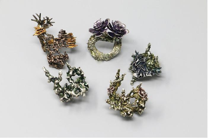 "Brandi Mudd -  Botanical Chaos     2""   x 1"" x 1""    Silver, bronze, gold plating, alcohol inks"