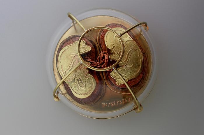 "Adwowa Obeng -  Twin Bond     3.75""   x 3.5"" x 2.3""    Copper, brass, NuGold, steel wire, glass"