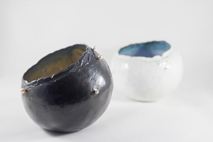 "Danni Xu -  Companion Vessel Set   6""   x 6"" x 6""    Enamel, copper, freshwater pearl"
