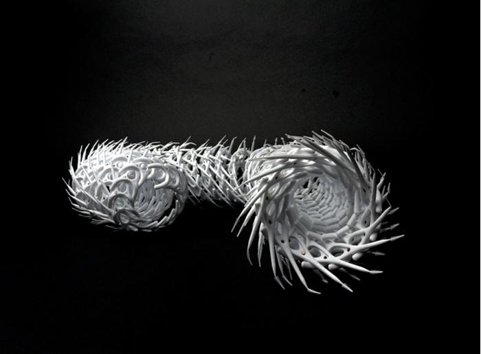 """Lenae Zimheld -  416     5"""" x 2.5"""" x 5""""    Dental floss picks, copper, floss"""