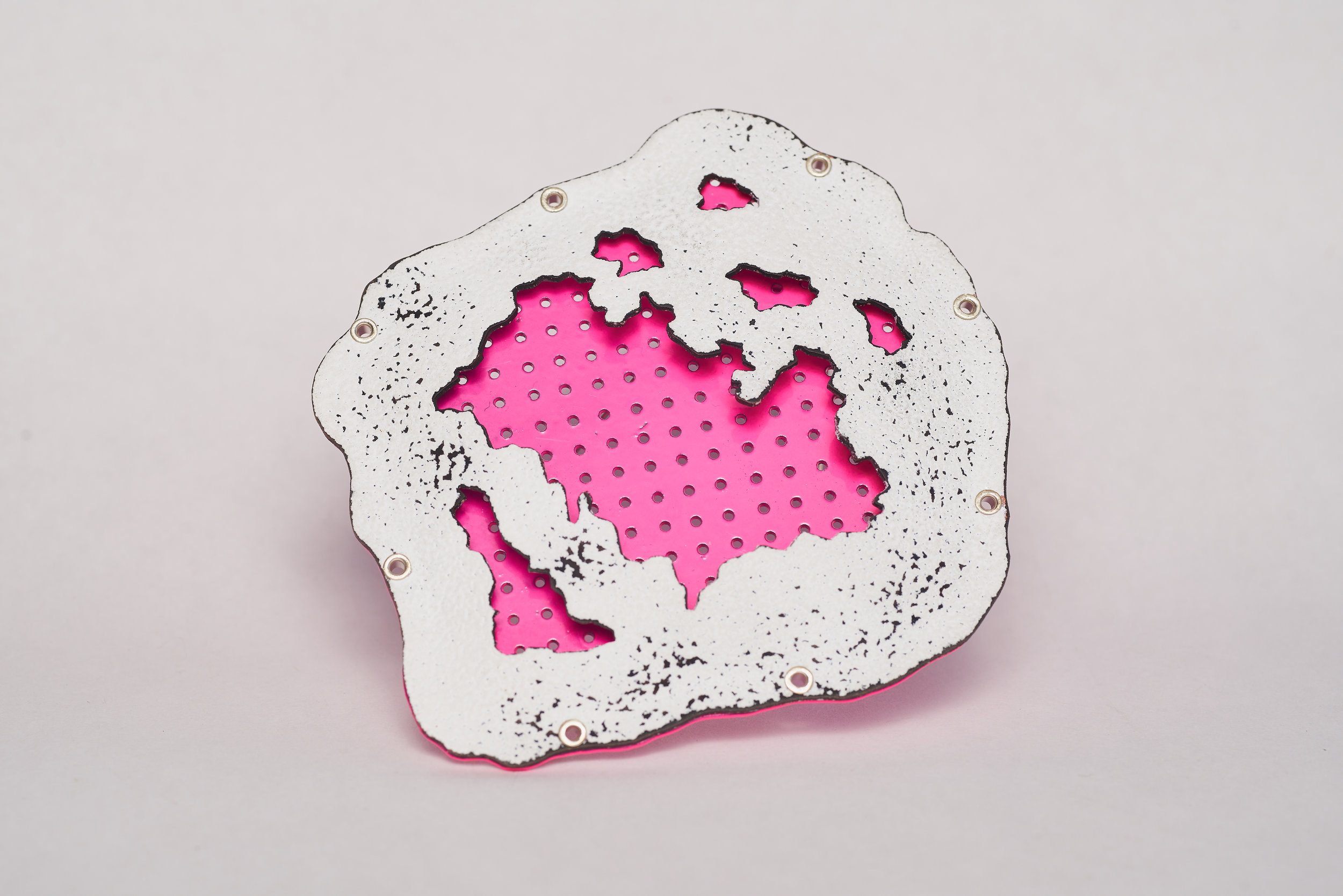 "Ben Cooke-Akaiwa -  Pink Corrosion     4.25"" x 4"" x 0.25""  Copper, brass, sterling silver, enamel, powder coat"