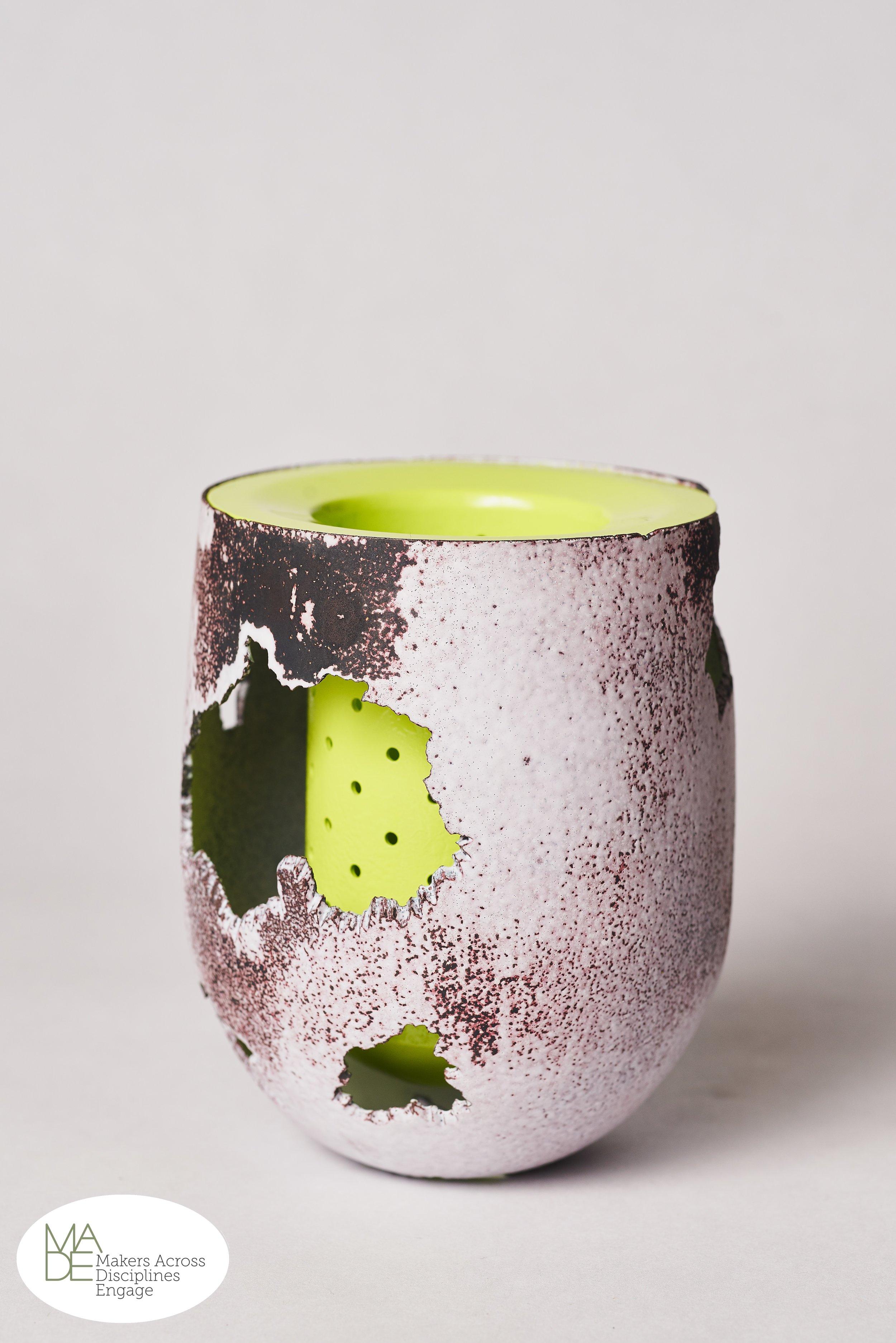 "Ben Cooke-Akaiwa -  Green Decay     4.25"" x 3"" x 3""  Copper, brass, enamel, powder coat"