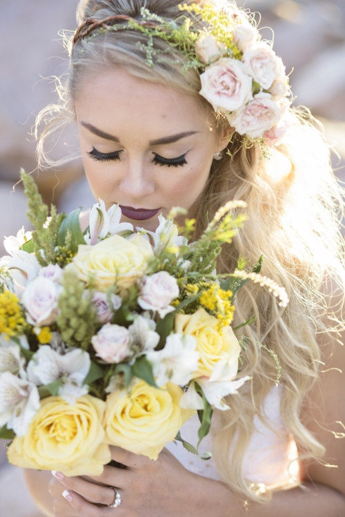 Soft Yellow Bridal Bouquet and Flower Crown by Velours Floral Designs in Redding CA