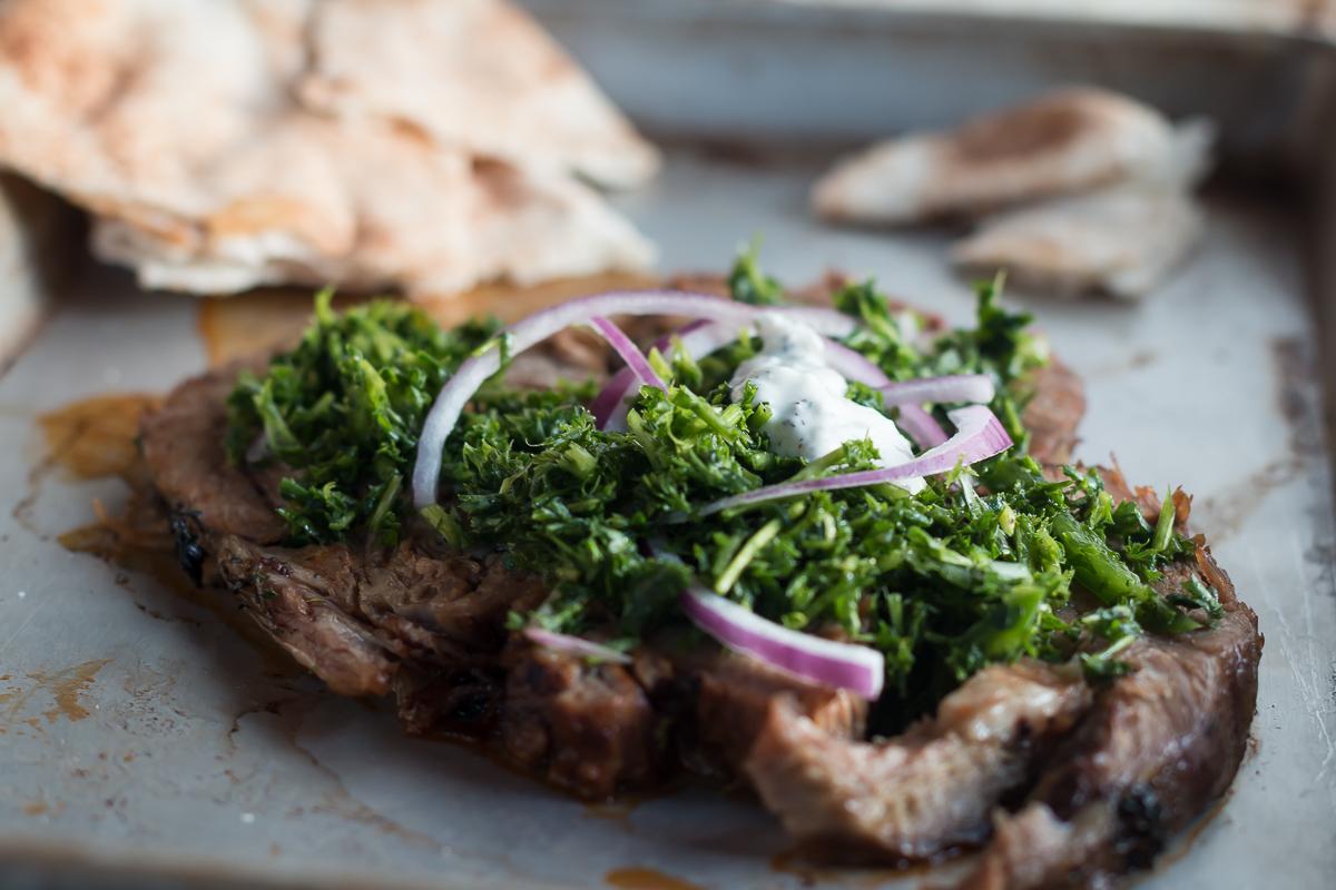 Lamb with an Herb Salad