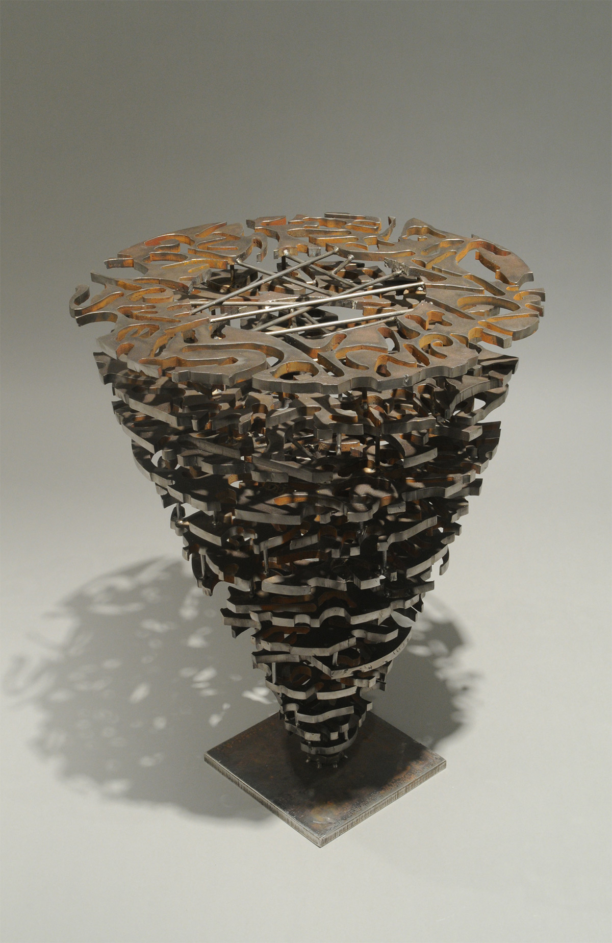 "Vessel – 2008 – 24 x 24 x 24 – Steel - <a href=""mailto:judbergeron@mac.com?subject=Inquire: Vessel – 2008 – 24 x 24 x 24 – Steel"">Inquire</a>"