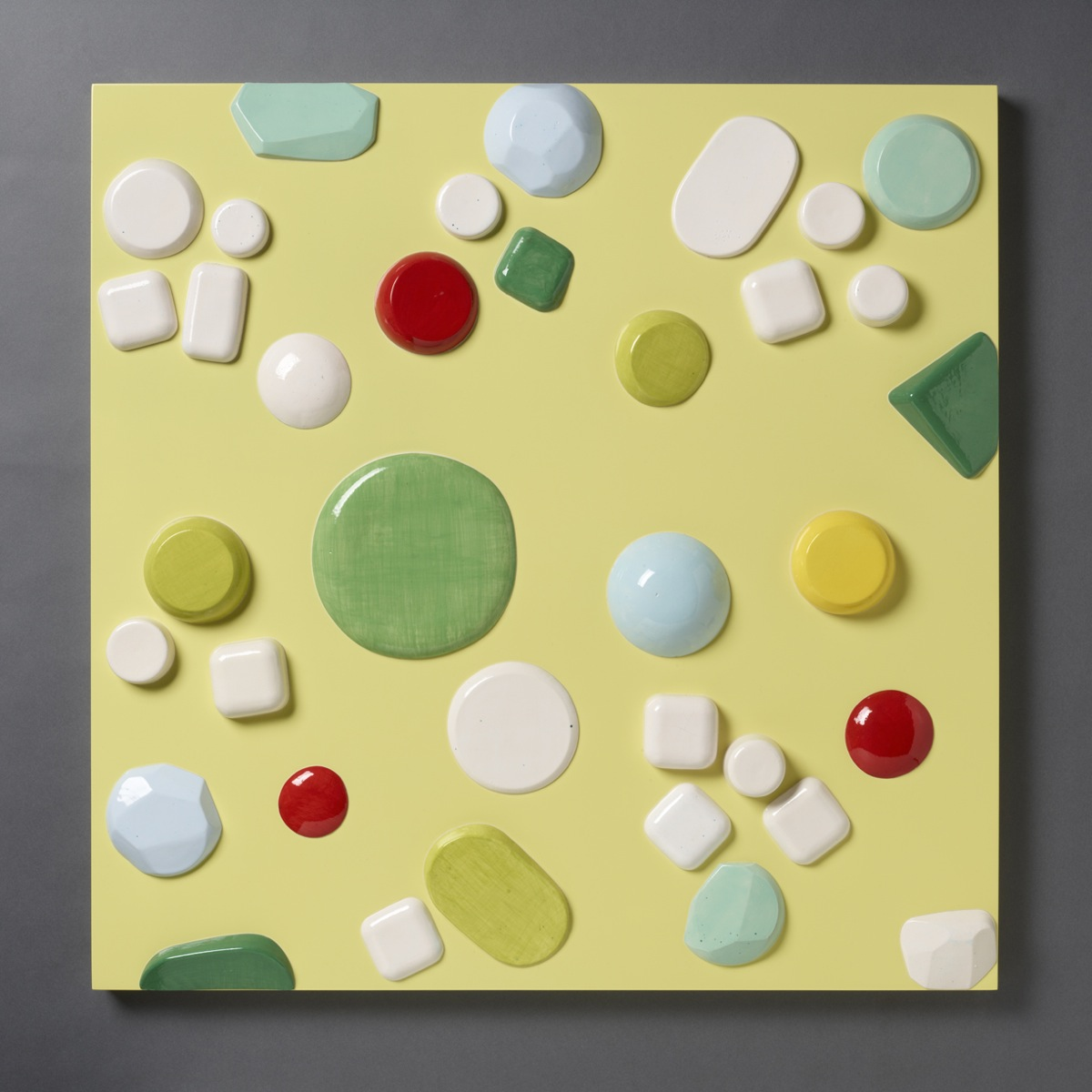 """Candy Series #3 – 2012 – High Fired Ceramics on Automotive Finished Panel – 36 x 36 - <a href=""""mailto:judbergeron@mac.com?subject=Inquire: Candy Series #3 – 2012"""">Inquire</a>"""