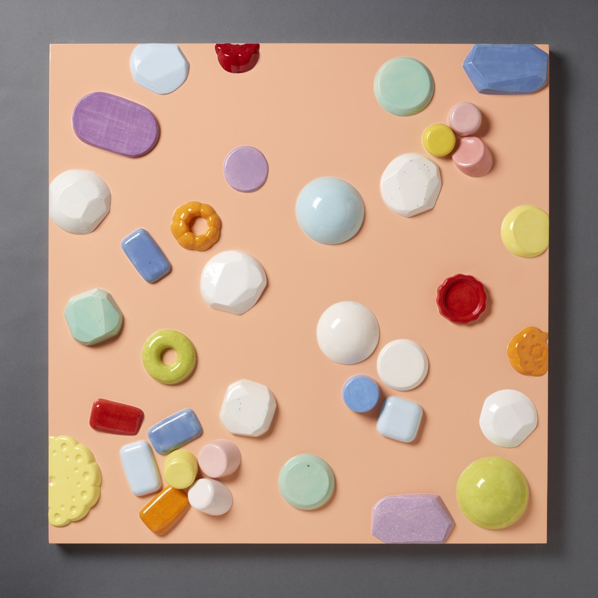"""Candy Series #5 – 2012 – High Fired Ceramics on Automotive Finished Panel – 36 x 36 - <a href=""""mailto:judbergeron@mac.com?subject=Inquire: Candy Series #5 – 2012"""">Inquire</a>"""