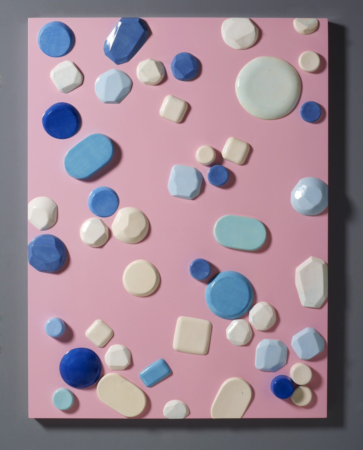 """Candy Series #2 – 2012 – High Fired Ceramics on Automotive Finished Panel – 48 x 36 <a href=""""mailto:judbergeron@mac.com?subject=Inquire: Candy Series #2 – 2012"""">Inquire</a>"""