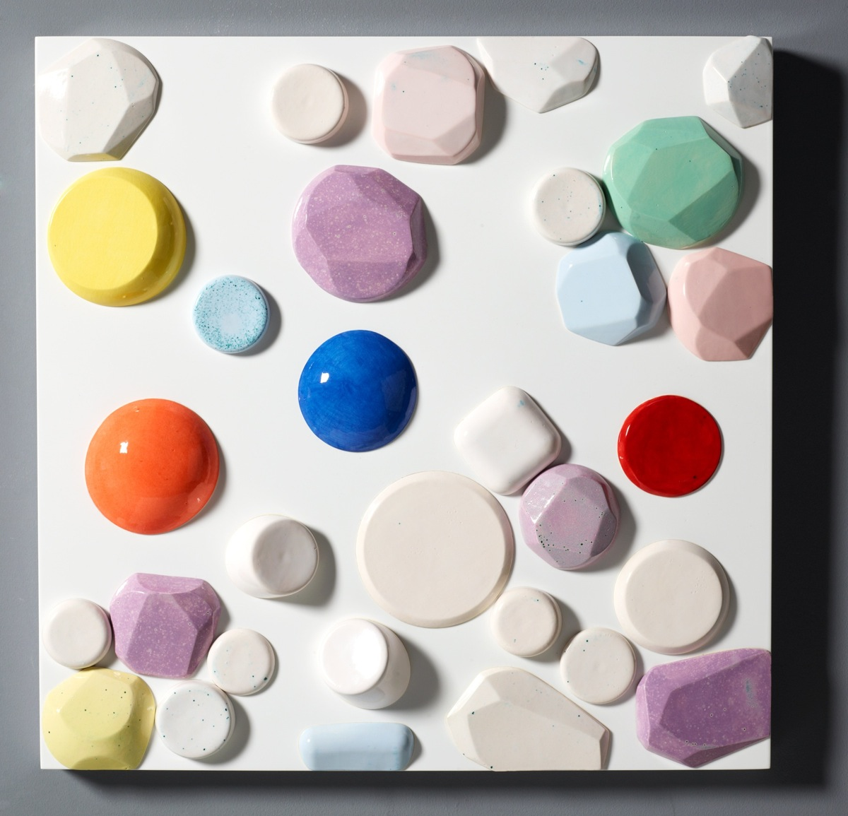 """Candy Series #6 - 2012 – High Fired Ceramics on Automotive Finished Panel – 24 x 24 <a href=""""mailto:judbergeron@mac.com?subject=Inquire: Candy Series #6 - 2012"""">Inquire</a>"""