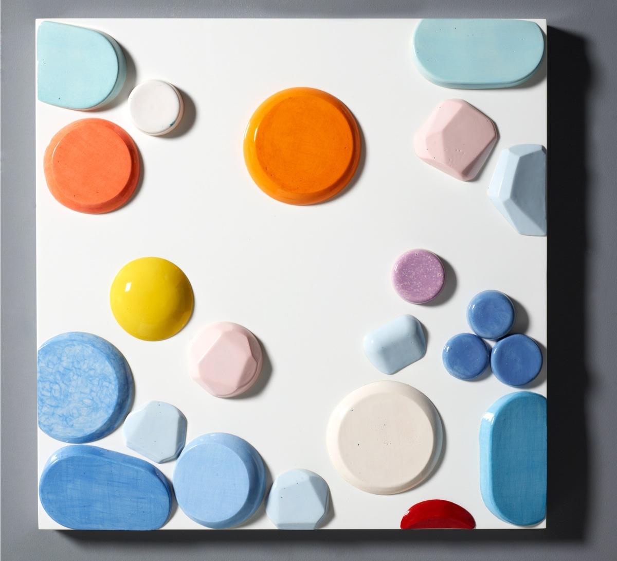 """Candy Series #8 - 2012 – High Fired Ceramics on Automotive Finished Panel – 24 x 24 <a href=""""mailto:judbergeron@mac.com?subject=Inquire: Candy Series #8 - 2012"""">Inquire</a>"""