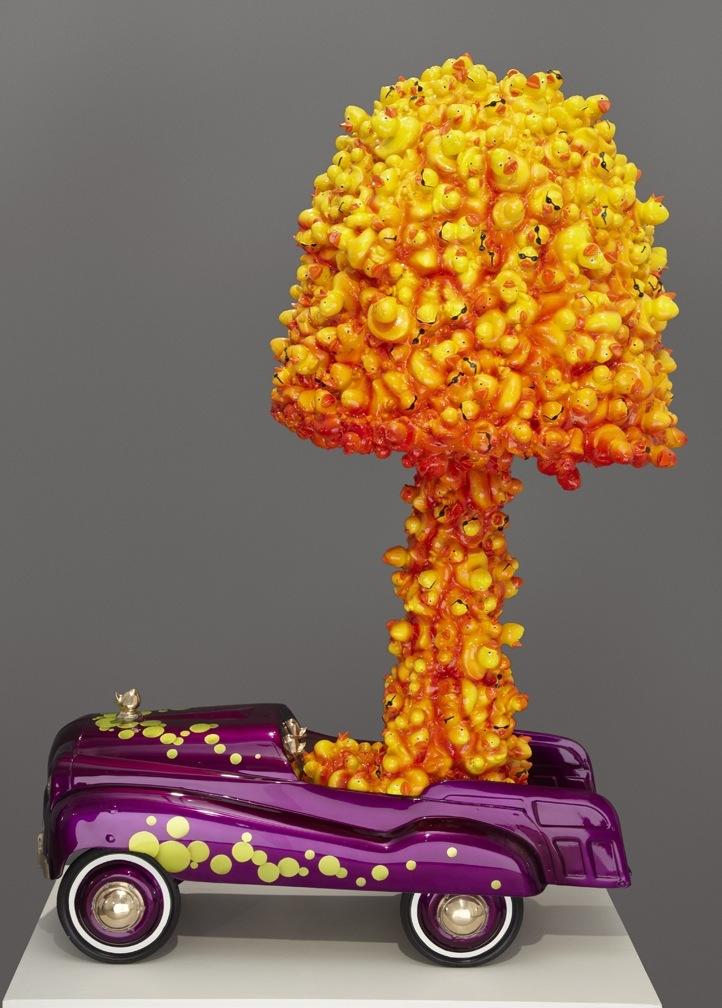 "Quack – 2012 – Cast Bronze, Cast Resin and Automotive Finish – 62 x 36 x 24 <a href=""mailto:judbergeron@mac.com?subject=Inquire: Quack – 2012"">Inquire</a>"