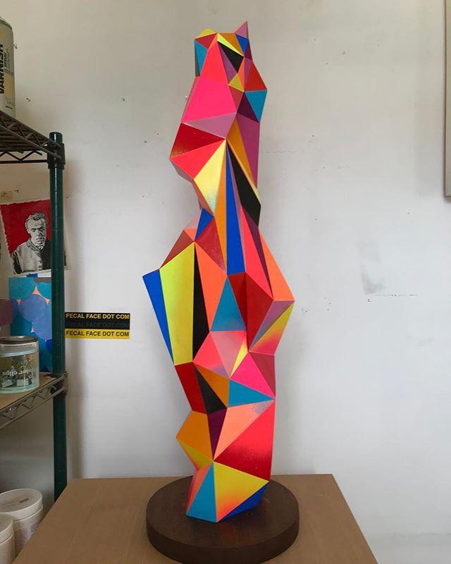 Shard - 32 x 10 x 10 - Cast Resin and Spray Paint. #radientspectrum #judbergeron #sculpture #studio #art #color #fineart #contemporaryart #contemporarysculpture #geometric #geometricart #artconsultant @markmurphydesign