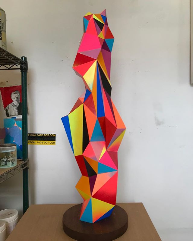 Shard - 32 x 10 x 10 - Cast Resin and Spray Paint. #radientspectrum #judbergeron #sculpture #studio #art #color #fineart #contemporaryart #contemporarysculpture #geometric #geometricart #artconsultant @markmurphydesign