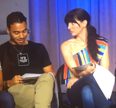 Onstage with LiveRead LA, giving actor Glenn Stanton the whatfor.