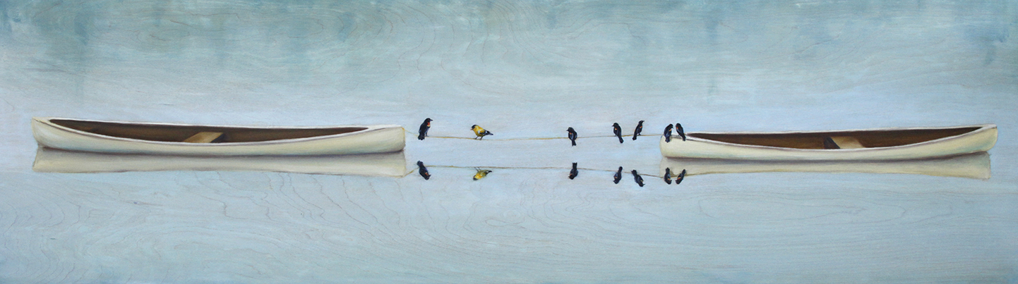 """Birds of a Feather"" Oil on Panel 56"" x 16.25"""