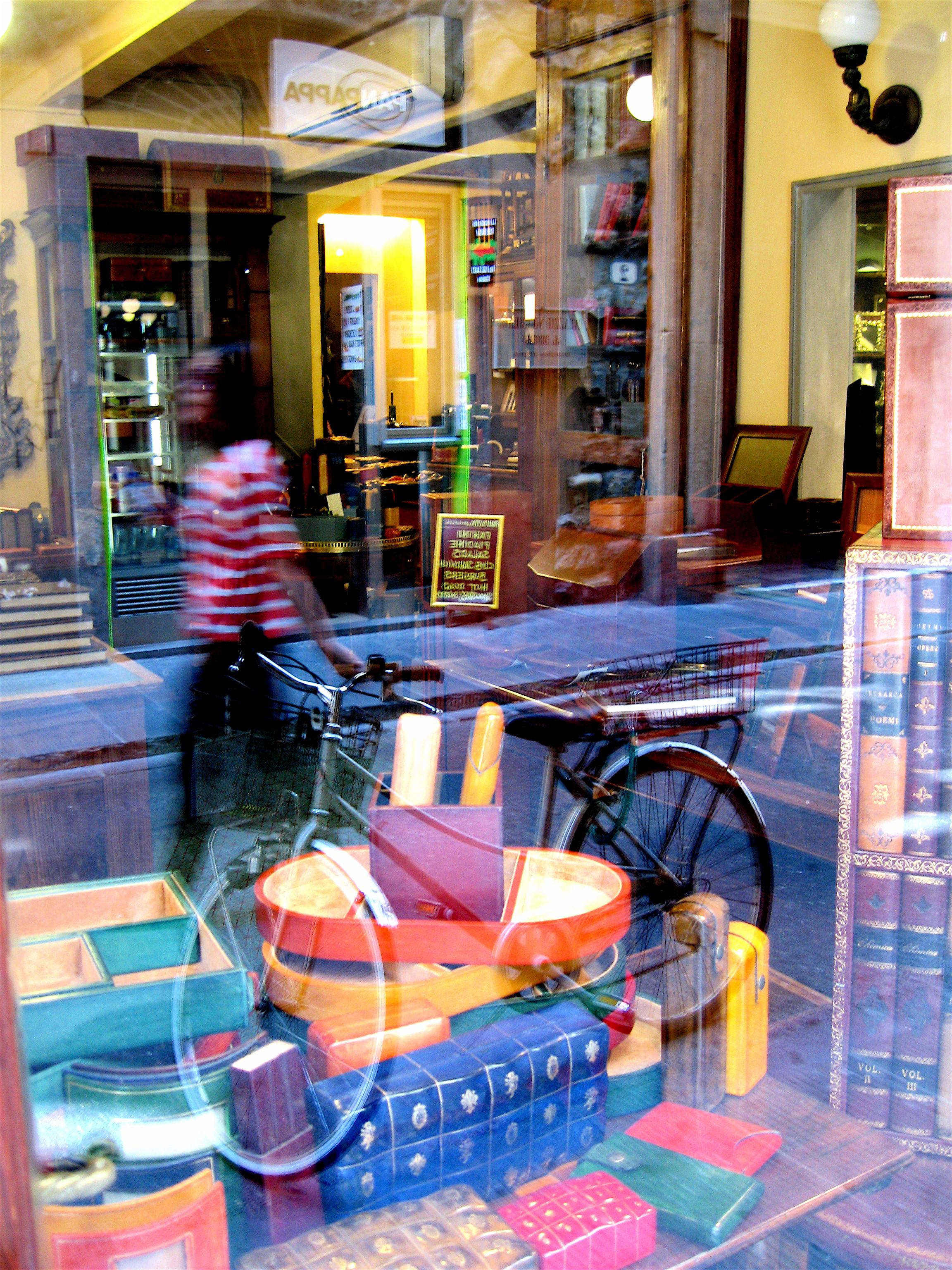 Bookstore window with bike
