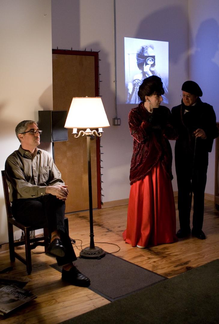 The Narrator (Doug Stapleton), Natasha R (Jeff Abell) and Marcel Piron (Douglas Grew)