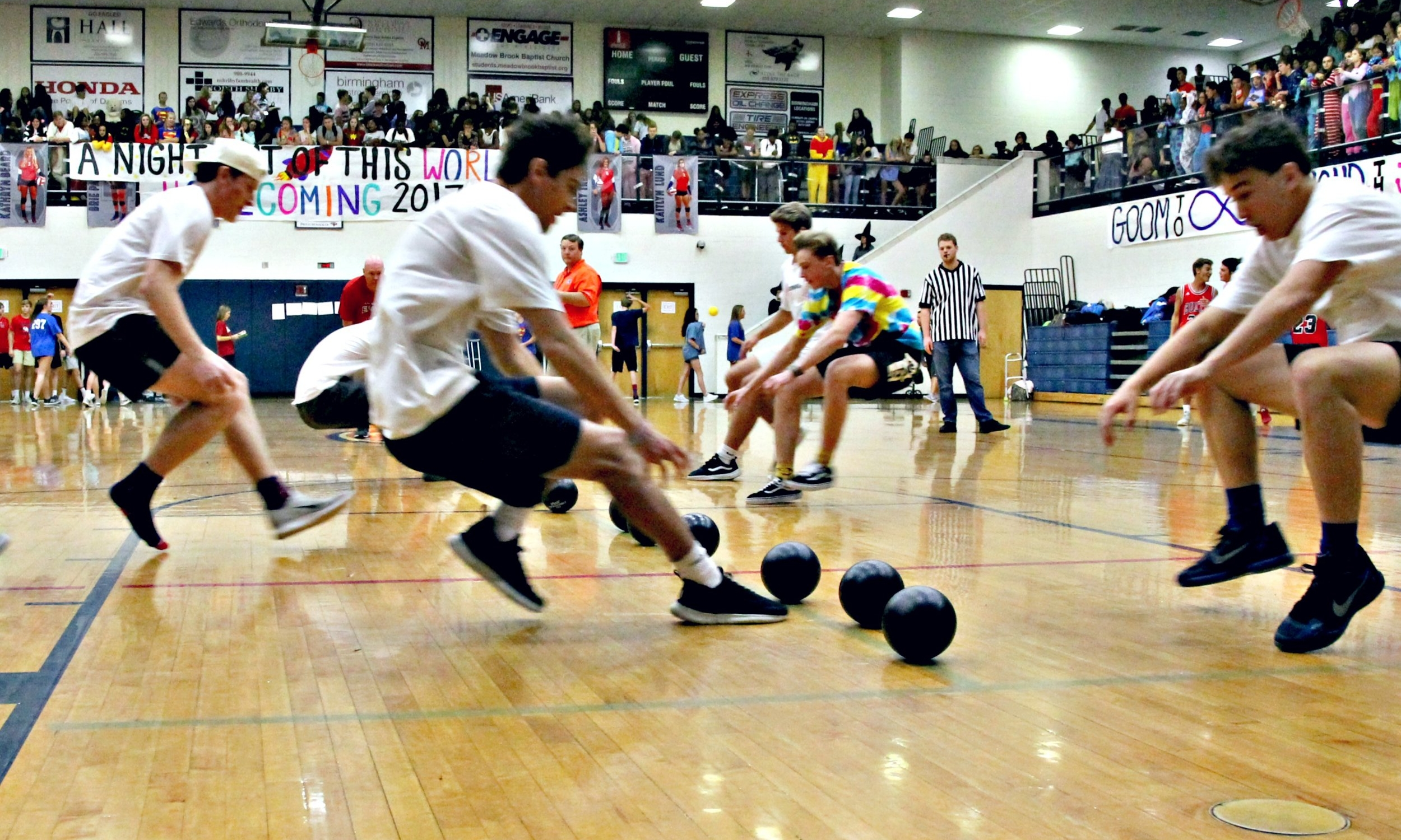The dodgeball tournament is an event held only for the upperclassmen. Teams of 10 players square off in a head to head elimination tournament until only two teams are left to determine who will be the champion: Juniors or Seniors.