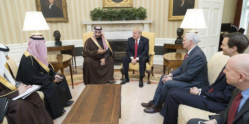 President Donald Trump with Saudi Crown Prince Mohammad bin Salman, who orchestrated the Saudi-led coalition in the Yemeni Civil War, and is widely believed to have ordered the murder of journalist and American resident Jamal Khashoggi. The president and crown prince recently agreed to a colossal arms deal, despite the recent outrage over Khashoggi