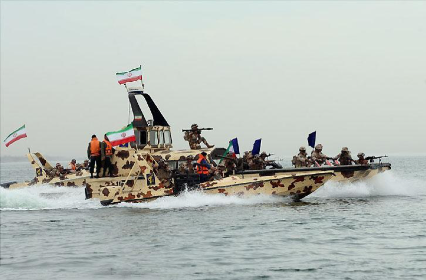 Speed boats of the Navy of the Islamic Revolutionary Guard Corps (IRGC) during a military exercise. Fast attack boats such as these are one of Iran's tools for asymmetric warfare, which the country is known to be skilled at.