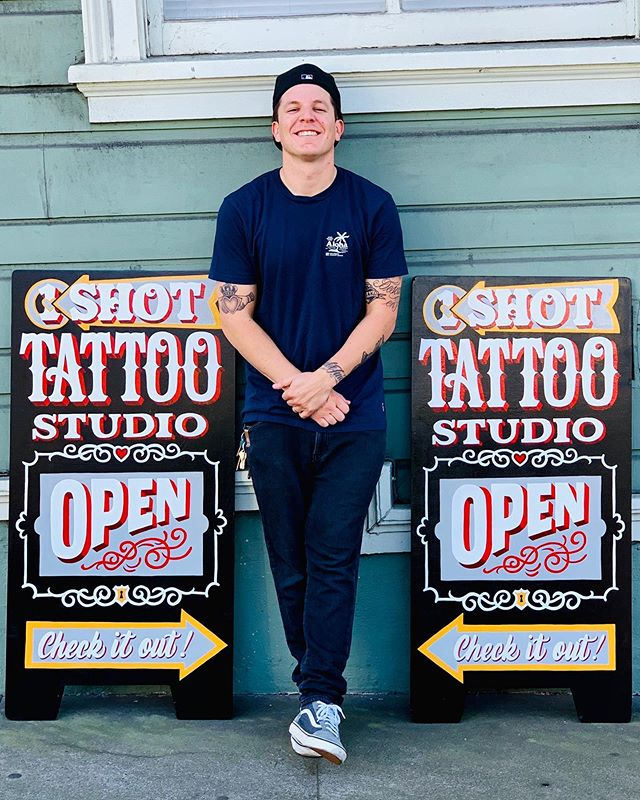 Just finished painting a new A-frame sign for the world famous @one_shot_tattoo studio. Just wanted to send a huge thank you and shout out to @daveoneshot for the opportunity and trust to remake their sign for the shop. Much love brotha! 🤙🏼 Please stop by to check out the new sign, and if you're in the market for getting quality tattoos or piercings by quality professionals, I highly suggest any of the stelar team members of this solid shop. Thanks for looking! #alwayshandpaint #typographyinspired #typography #tattoosigns #handlettering #goodtype #script #thedesigntip #drawing #typeverything #handpaintedsigns #thedailytype #typism #oneshottattoosf #handtype #typegang #1shotpaint #design #penmanship #typeface #typeverywhere #typematters #todaystype #instadesign #kuyageorge #ilovetypography #strengthinletters #oneshottattoostudio