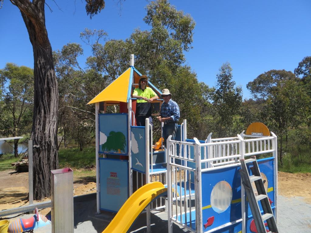 Les and Jarryd constructing the playground in the Summer of 2015