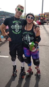 Fowl Play and Doom Dee Doom skate in the 2016 Albuquerque Pride Parade. Photo by Rainbow Smash