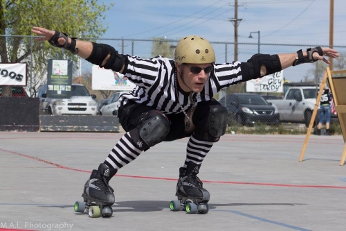 Living up to his derby name at a 2016 DCRD home team bout. Photo by M.A.L. Photography