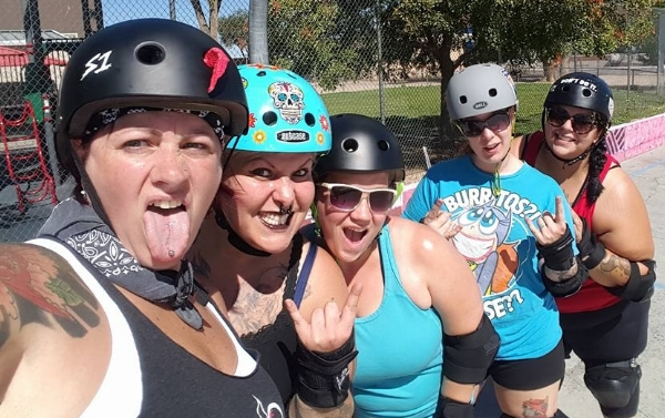 And selfies are highly encouraged. L to R, Kathleen Mauro, Amber Cadaver, Marie Fury, Ima Hazard, and Pelvis Chestly practice at Heights Community Center. Photo by Amber Cadaver.